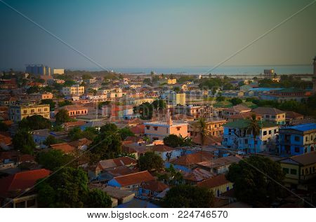 Aerial panorama view to city of Banjul and Gambia river, Gambia