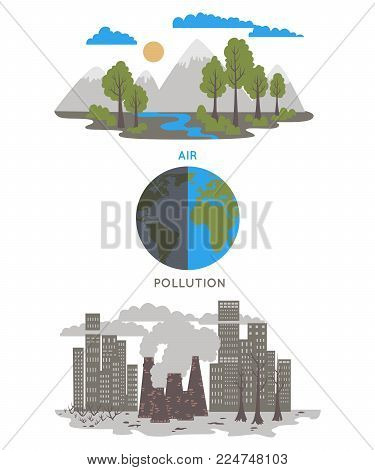 Air pollution. Ecology problem concept. Factories pollute the environment. Vector illustration