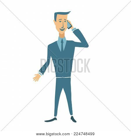 Standing smiling businessman talking on a mobile phone. Flat vector character illustration, isolated on white background.
