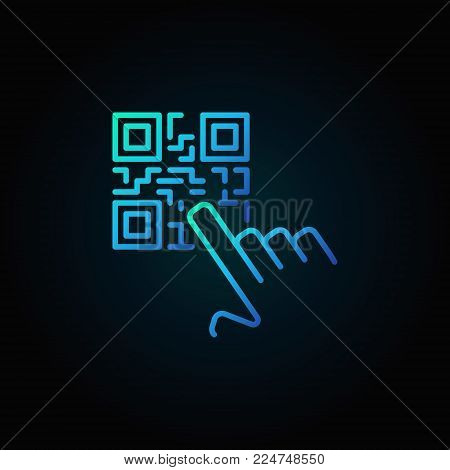 Hand pointing QR code vector blue concept icon or symbol in thin line style on dark background