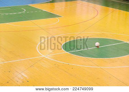 Futsal ball field in the gym indoor, Soccer sport field