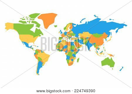 Simplified colorful map of World. Vector illustration.