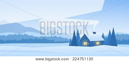 Vector illustration: Winter snowy mountains landscape with house and smoke from the chimney.