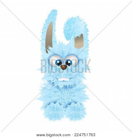 Blue Easter bunny isolated on the white background. Fluffy rabbit.Vector illustration. Cartoon animal character. Easter symbol.