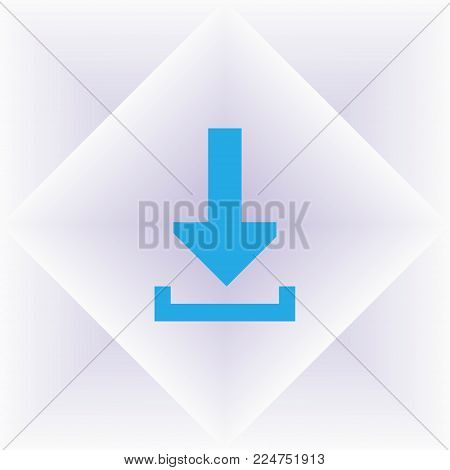 Blue Arrow Down Icon. Flat Download Sign Isolated On Grey.