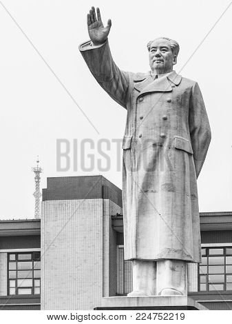 CHENGDU, CHINA - AUGUST 27, 2012: Statue of Chairman Mao Zedong on Tianfu Square, Chengdu, Sichuan Province, China
