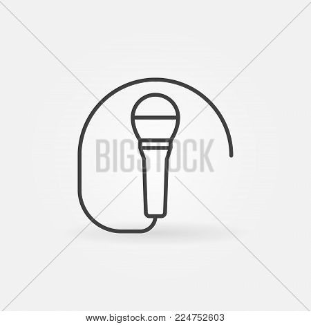 Wired microphone icon or symbol in thin line style