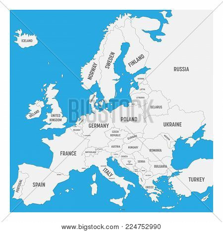 Map of Europe with names of sovereign countries, ministates included. Simplified black vector map on white background.