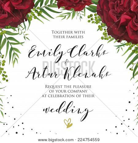 Wedding floral vector photo free trial bigstock wedding floral watercolor invite invitation card design with red burgundy garden rose flower palm stopboris Choice Image