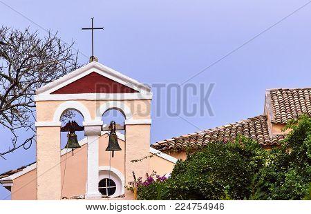 Church Tower With Bells  In Corfu Island In Greece