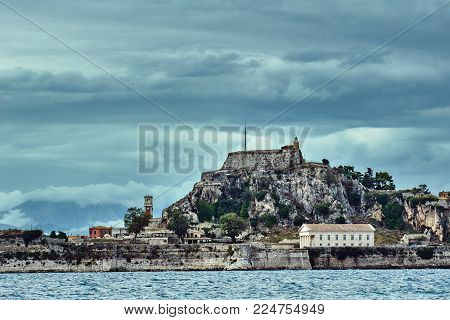Rock And Old Venetian Fortress On The Island Of Corfu