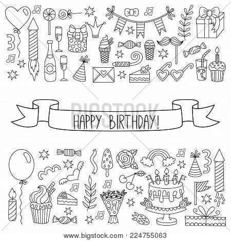 Birthday party doodle line icons  greeting template