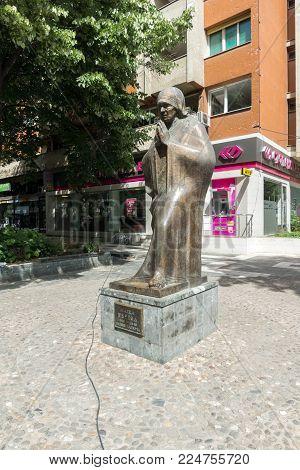 SKOPJE, REPUBLIC OF MACEDONIA - 13 MAY 2017: Monument of Mother Teresa  in Skopje City Center, Republic of Macedonia