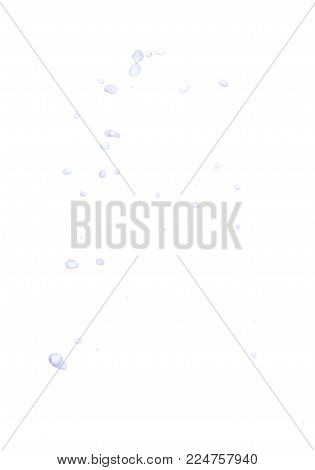 Splash of transparent liquid drops in motion isolated over the white background, set of multiple images combined