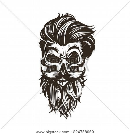 Skull with a hairstyle, beard, mustache on white background vector illustration design.