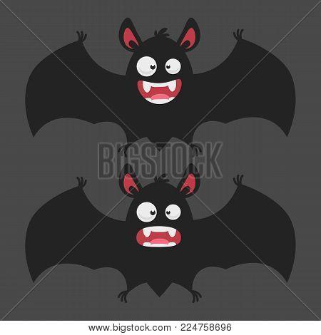 Cartoon Bat Smiles Frightened. Vector illustration. Mascot character.