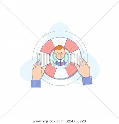Lifebuoy in human hands - Helping to survive.Customer service