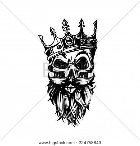 black and white skull in crown with beard and mustard on white background vector illustration design.