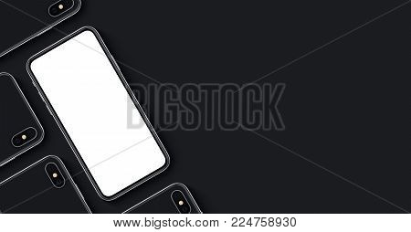 iPhone X style smartphone mockup banner with copy space. Smartphones mockup top view flat lay. New frameless smartphone back side and front side mockup. For mobile app, game design or mobile web design presentation. 3D illustration.