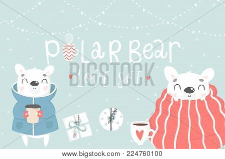 Cute tcards with polar bears, hearts, cups and magic Vector printable card of Valentine's Day card, invitation, poster in gentle colors template design