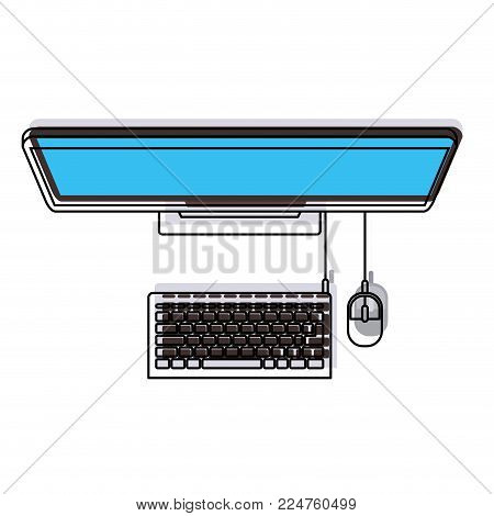 desktop computer pc tech internet screen electronic digital office vector illustration