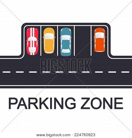 Parking concept. Road with parking places and cars, top view. Vector illustration.