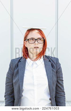 Business Politics Concept Of Choice And Voting. Woman In Suit And Glasses Makes Yes Or No Choice. Wi