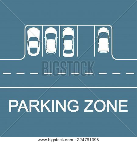 Car Parking Concept. Road With Parking Places And Cars, Top View. Vector Illustration.