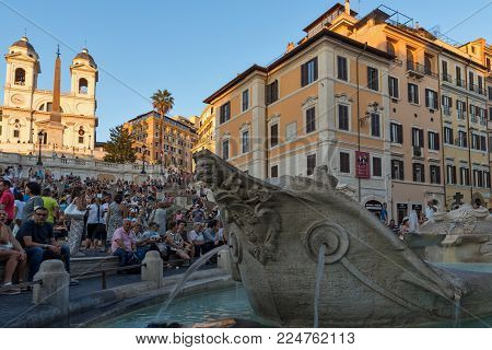 ROME, ITALY - JUNE 23, 2017: Amazing Sunset view of Spanish Steps and Piazza di Spagna in city of Rome, Italy