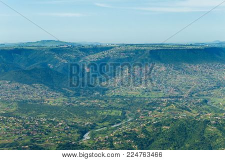 Flying Africa Rural Homes Valleys Mountains