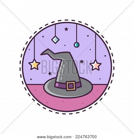 Witch's hat. Vector illustration of hat. Icon