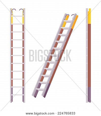 Pompier ladder set. Fireman scaling ladder with a pole, crossbars for rungs and a hook, firefighter instrument to climb the window. Vector flat style cartoon illustration isolated on white background