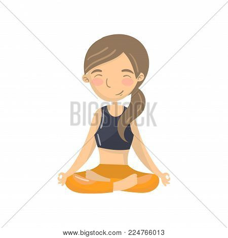 Beautiful young woman sitting in lotus position and meditating, teen girl practicing yoga in the padmasana pose cartoon vector Illustration isolated on a white background
