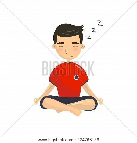 Young man meditating in yoga lotus position, office worker relaxing and sleeping cartoon vector Illustration isolated on a white background