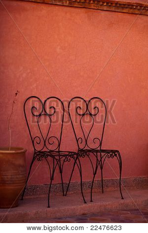 Two Heart Shaped Iron Chairs