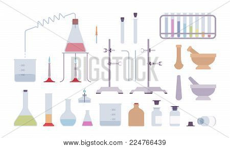 Chemical laboratory equipment and instruments. Professional scientific pharmaceutical lab tools for tests and experiments. Vector flat style cartoon illustration isolated on white background
