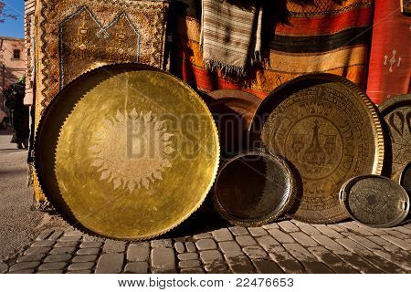 Ornate Traditional Brass Serving Trays