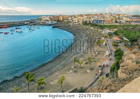 View of Playa de San Juan, This beach  with gold sand located in Guía de Isora on the south west coast of Tenerife,Canary Islands.