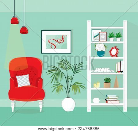 Modern room interior with an armchair, shelving and palm plant. Flat style vector illustration.