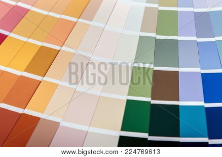 pallet with samples of different colors background