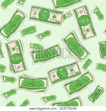 Seamless vector. Shades of green. One hundred dollars of banknotes, finance, bank. Paper money