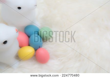 Easter Eggs And Easter Bunny On An Easter Egg Hunt