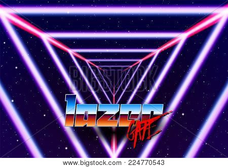 Neon tunnel in space with 80s styled lazer lines for futuristic poster or flyer. Gate with stars and fantastic glowing road