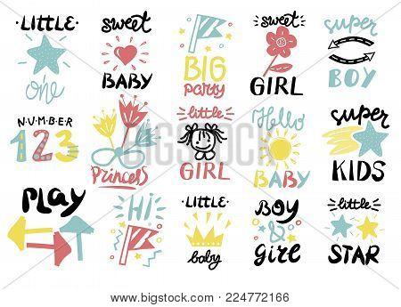 Set of 15 children logo with handwriting Little boy, Sweet girl, Hi, Princess, Baby, Hello, One, Play, Super, Number Star Kids background Poster Emblem