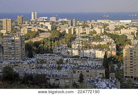 Top View Of City Haifa