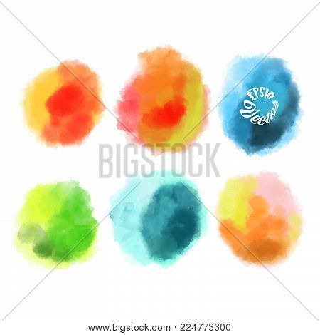 Set of six watercolor brushes. Stain in grunge style. Perfect for designing and decorating banners and flyers.