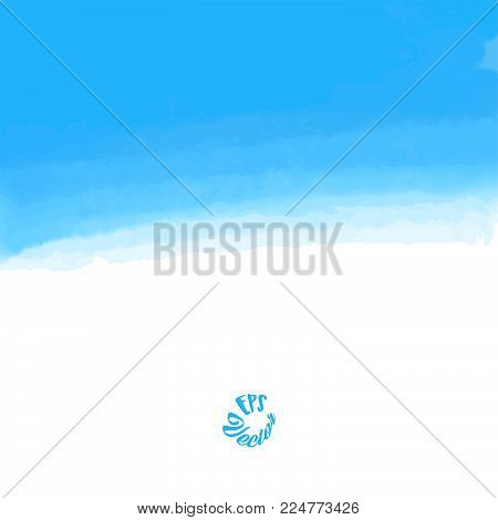 Abstract blue sky watercolor background. Stain in grunge style. Perfect for designing and decorating banners and flyers.