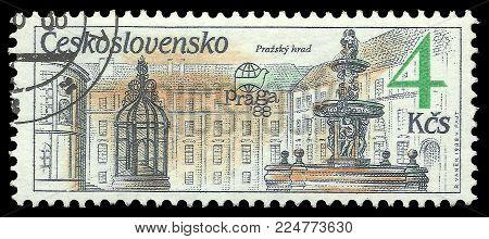 Czechoslovakia - circa 1988: Stamp printed by Czechoslovakia, Color edition on Prague fountains, shows Fountain Prazhsky hrad, circa 1988