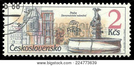 Czechoslovakia - circa 1988: Stamp printed by Czechoslovakia, Color edition on Prague fountains, shows Fountain Staromestske namesti, circa 1988