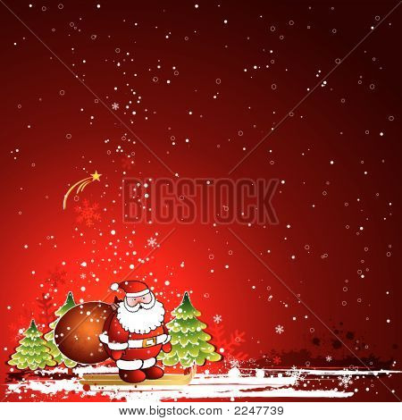 Christmas Card With Santa Claus, Vector